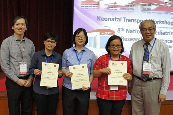 Figure 3: Winners of the 8th National Paediatric Research Conference 28th February 2016 flanked by Prof Cheah and Prof Thong